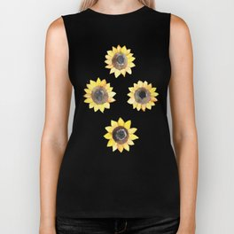 Cheerful Watercolor Sunflowers Biker Tank