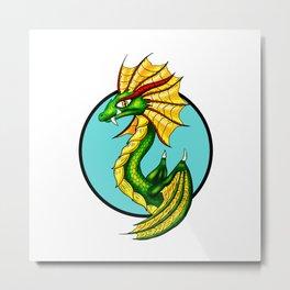 Green Water Dragon Metal Print