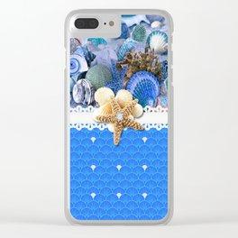 Healing Blue Seashells Sea Life Clear iPhone Case