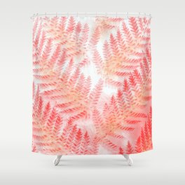 Blush Living Coral Mediterranean Fern Botanical Nature Glitter Pattern Shower Curtain