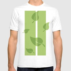 Scattered Green Leaves Mens Fitted Tee White MEDIUM