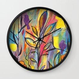 Watching And Waiting Abstract Bird Painting Wall Clock