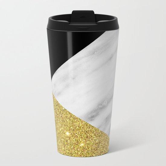 Marble & Gold Geometry Metal Travel Mug