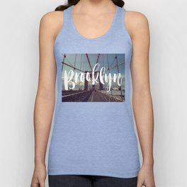 Brooklyn Bridge Photography and Calligraphy Unisex Tank Top