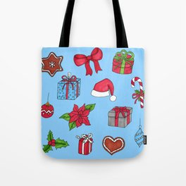 Christmas pattern (#1 blue) Tote Bag