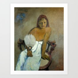 The Girl with a Fan by Paul Gauguin Art Print
