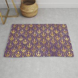 Golden Khanda pattern on violet Rug