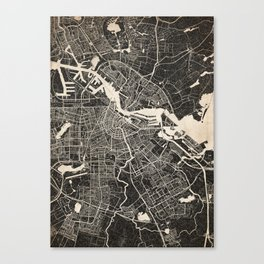 Amsterdam map ink lines Canvas Print