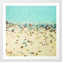 blur Art Prints featuring Coney Island Beach by Mina Teslaru