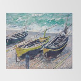 Three Fishing Boats by Claude Monet Throw Blanket