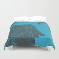 san francisco map Duvet Covers featuring San Francisco by Map Map Maps