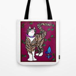 Pretty Kitty, Rocket with Fleur de Lis Tote Bag