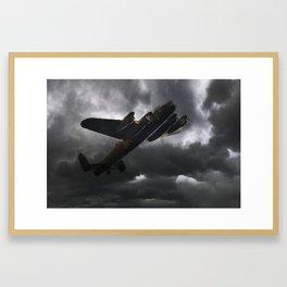 Lancaster Bomber Dark Skies Framed Art Print