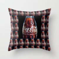coca cola Throw Pillows featuring The Real... by LesImagesdeJon