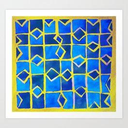 blue abstract pattern Art Print