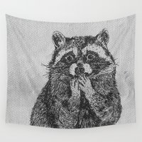 raccoon Wall Tapestries featuring Raccoon by Creativemushroom