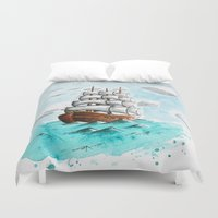 ship Duvet Covers featuring Ship by Coffeeholic Art