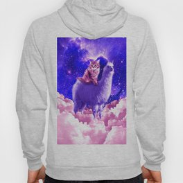 Outer Space Galaxy Kitty Cat Riding On Llama Hoody