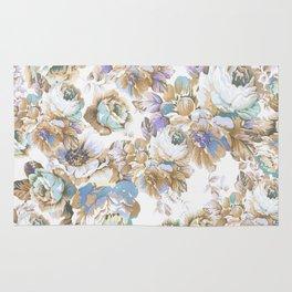 Vintage blush lavender brown teal blue roses floral Rug
