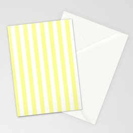 Narrow Vertical Stripes - White and Pastel Yellow Stationery Cards