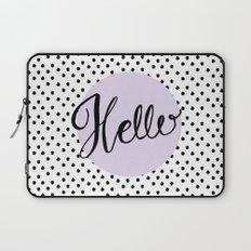 Hello Dots - Hand Lettering - Lavender Purple Laptop Sleeve