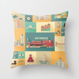 San Francisco Landmarks Throw Pillow