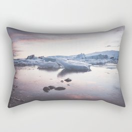 Sunset over Glacier Lagoon - Landscape and Nature Photography Rectangular Pillow
