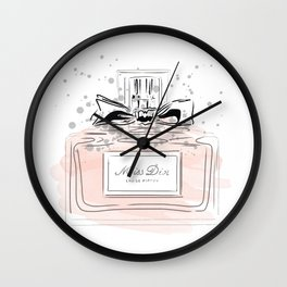 Perfume bottle with bow Wall Clock