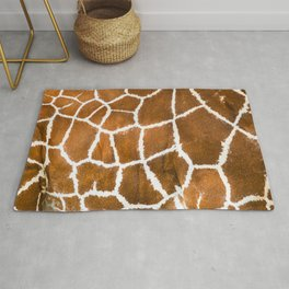 Close-up view of giraffe skin texture, animal print background isolated Rug