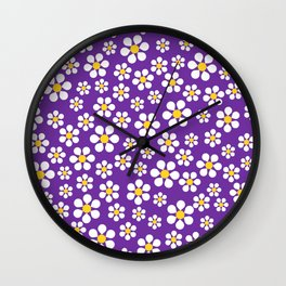 Dizzy Daisies - purple Wall Clock