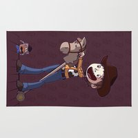 toy story Area & Throw Rugs featuring Woody Toy Story by Kaori