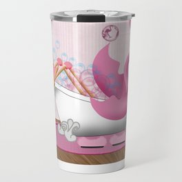 Flamingo Enjoying the Bath Travel Mug