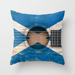 Old Vintage Acoustic Guitar with Scottish Flag Throw Pillow