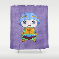 conan Shower Curtains featuring A Boy - Man-at-arms by Christophe Chiozzi