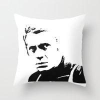steve mcqueen Throw Pillows featuring Steve-O by Oscar Sierra