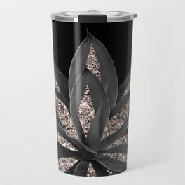Gray Black Agave with Rose Gold Glitter #1 #shiny #tropical #decor #art #society6 Travel Mug