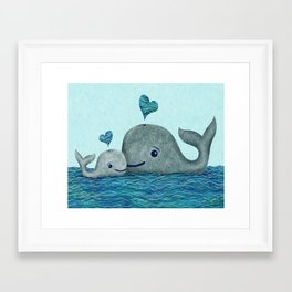 Whale Mom and Baby with Hearts in Gray and Turquoise Framed Art Print