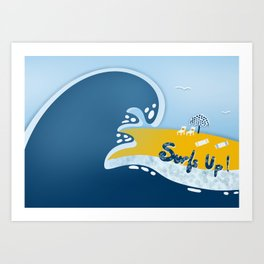 Surfs Up Again in Blue and Yellow Art Print