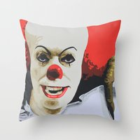 pennywise Throw Pillows featuring Pennywise the Clown from It. by MonkeyCatCreations