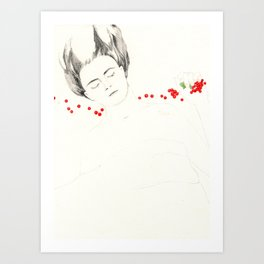 Fruit sleeping (redcurrant) Art Print