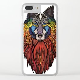 Wolfmother (Fire Wolf) Clear iPhone Case