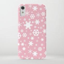 White & blush pink snowflake pattern iPhone Case