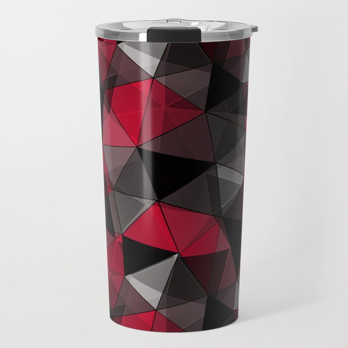 Abstract polygonal pattern.Red, black, grey triangles. Travel Mug