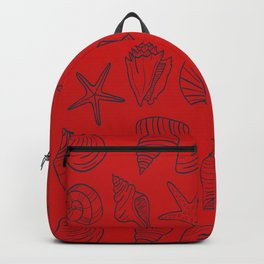 Red and blue seashells pattern Backpack