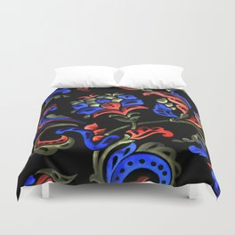 Hand-Painted Scroll Black Duvet Cover