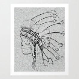 indian skull sketch Art Print