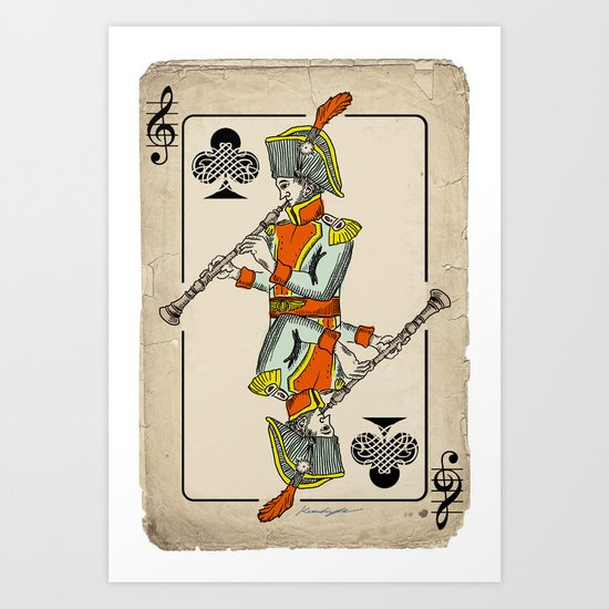 musical poker / Baroque oboe Art Print