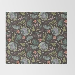 Cacti by Night Throw Blanket