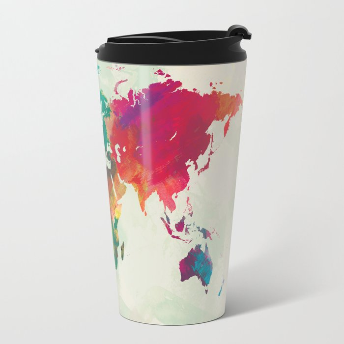 Watercolor world map travel mug by champagne society6 watercolor world map travel mug sciox Image collections