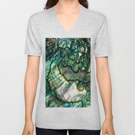 Shimmering Green Abalone Mother of Pearl Unisex V-Neck